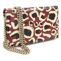 GUCCI Bag Mini bag Wallet Leopard pattern Authentic carved seal Gold Chain fine