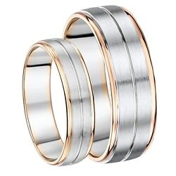 His And Hers 6and7mm Palladium And 9ct Rose Gold Wedding Ring