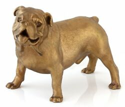 Standing English Bulldog Real Bronze Sculpture Dog Figurine Animal Statue 4 34