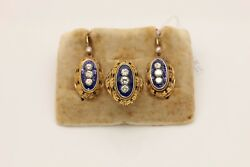 ANTIQUE STYLE 14K GOLD  RUSSIAN ENAMEL BRILLIANT DECORATED EARRING RING SET