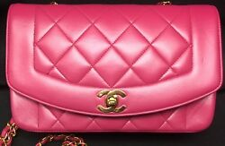 CHANEL Quilted Boy Bag Gold Tone Hardware Hot Pink Chain Strap MINT Vintage