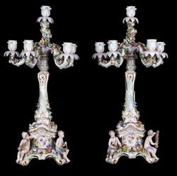 Decor Art Germany Meissen Set of two six-candle sconces with three putti
