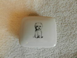 VINTAGE WEST HIGHLAND TERRIER WESTIE DOG Besco Jewelry Trinket Box Porcelain