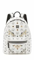 MCM Women's M Stud Small Stark Backpack White One Size