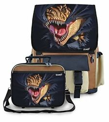 Kidaroo High Quality School Backpack & Lunchbox for Boys Girls Kids With T-Rex