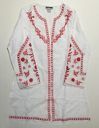 Ladies White Cotton Embroidered Split Neck Long Sleeves Tunic Top Nwt S-m-l-xl
