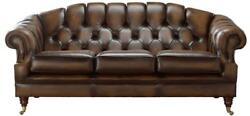 Chesterfield Victoria 3 Seater Antique Tan Leather Sofa Settee