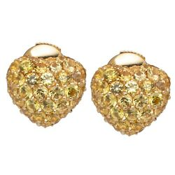 Chopard Yellow Gold And Yellow Sapphire Hearts Stud Earrings 83/4203 Brand New
