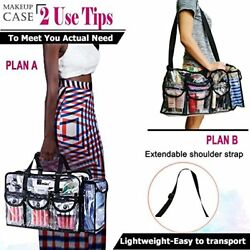 Travel Makeup BagCosmetic Organizer Case with Shoulder StrapLarge ClearBlack