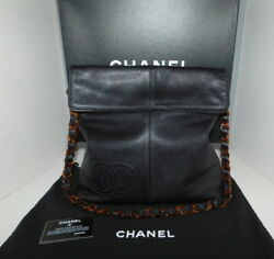 CHANEL Black Caviar Leather Hand Bag w Tortoise Chain Strap fold down Authentic