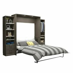 Atlin Designs 104 Queen Wall Bed Kit In Bark Gray And White