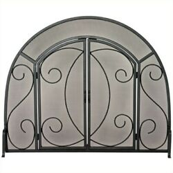 Pemberly Row Single Panel Black Wrought Iron Ornate Screen With Doors
