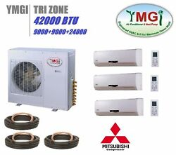 YMGI 42000 BTU Tri 3 ZONE 9K-9K-24K  MINI SPLIT 21 SEER AIR CONDITIONER HEAT