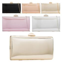 Women's New Hard Compact Faux Patent Leather Evening Clutch Bag