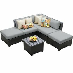 Bowery Hill 6 Piece Patio Wicker Sectional Set In Gray