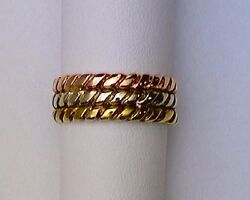Ladies Twisted Wire Triple Band Tricolor Ring 14 Kt Custom Made Sz 7