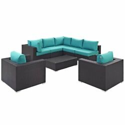 Hawthorne Collection 8 Piece Patio Sofa Set In Espresso And Turquoise