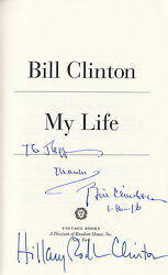 Hillary Rodham And Bill Clinton Dual Signed My Life Book Democratic President