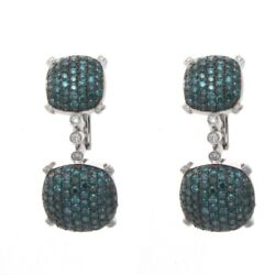 18k White Gold Blue And White Diamond Earrings 2.90 Cts. 20.60 Grams