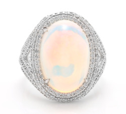 9.00Ct Natural Ethiopian Opal and Diamond 14K Solid White Gold Ring