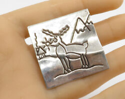 MEXICO 925 Silver - Vintage Rudolf The Red Nose Reindeer Brooch Pin - BP1308