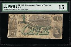 Affordable Genuine Csa T-45 1862 Confederate 1 Note Pmg 15 Choice Fine Pp-2