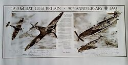 Battle Of Britain 50th Anniversary Poster 1940-1990 Signed By Eleven Pilots Coa