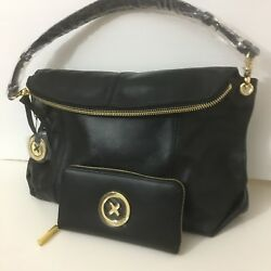 Mimco Leather Supernatural Hobo Hand Bag Brand New RRP450 Matching Wallet Black