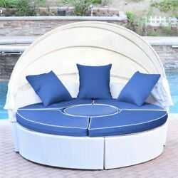 Jeco 4 Piece Patio Wicker Canopy Daybed In White And Midnight Blue