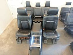 11-16 FORD F250 F350 FRONT REAR SEAT CONSOLE BLK LEATHER POWER HEAT COOL LARIAT