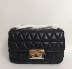 Authentic Michael Kors Salon Large Quilted Lamb Leather Gold Chain Shoulder Bag