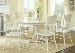 Formal Antique Traditional Classic White 7p Dining Set Dining Room Furniture Set