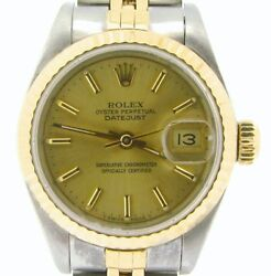 ``rolex Datejust Ladies 2tone 18k Yellow Gold And Steel Watch Champagne Dial 69173