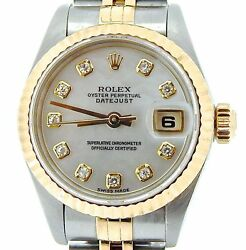 Rolex Datejust Lady 18k Yellow Gold & Steel Watch White MOP FACTORY Diamond Dial