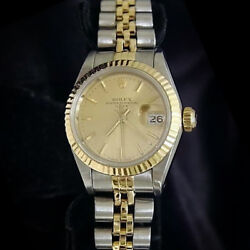 Rolex Date Ladies 2tone 18k Yellow Gold And Steel Watch Jubilee Champagne 69173