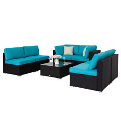Outdoor Sectional Set Garden Furniture Patio Corner Sofa Couch Table 7pc Wicker