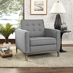 Mid-Century Modern Tufted Fabric Upholstered Accent Lounge Armchair in Light Gra
