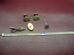 Vintage Masonic Bean Back Cuff Links +tie Clipandtac And More - Nice Oldtime Items