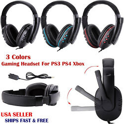 Gaming Headset Mic Stereo Surround Headphone 3.5mm Wired For Ps3 Ps4 Xbox Laptop