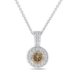 Fancy Brown Champagne Diamond Pendant Necklace 14k White Gold 1.23 Ct Halo Pave