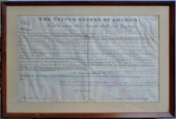 Land Grant On Parchment Signed In 1822 By The 5th Us President James Monroe