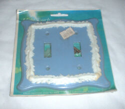 vintage Double Toggle Light Switch Cover Plate blue white feathers embossed