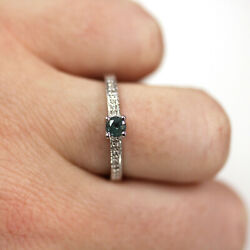 0.4 Ctw Natural Real Alexandrite And Diamond Solid 14k White Gold Solitaire Ring
