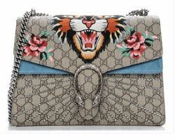 NWT AUTHENTIC GUCCI Medium Dionysus Embroidered Angry Cat GG Supreme