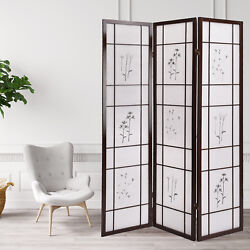 Modern 3 Panel Folding Shoji Room Screen Divider with Flowered Pattern Privacy