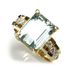 5.5 Ct Tw Natural Blue Aquamarine And Diamond Solid 14k Yellow Gold Cocktail Ring