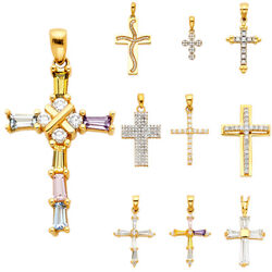 14k Real White Yellow Gold Cross Multi Cz Religious Pendant Gold Collection