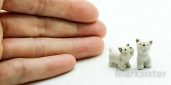 Figurine Animal Miniature Ceramic Tiny 2 West Highland Terrier Dog - CDG052