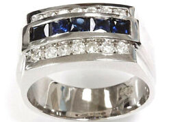 1.7 Ct Tw Natural Blue Sapphire And Diamond 14k White Gold Band Ring For Men