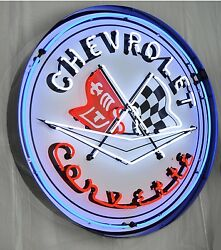 Giant Corvette Flags 3 Ft. Chevy 36 Round Neon Sign 9corbl W/ Free Shipping